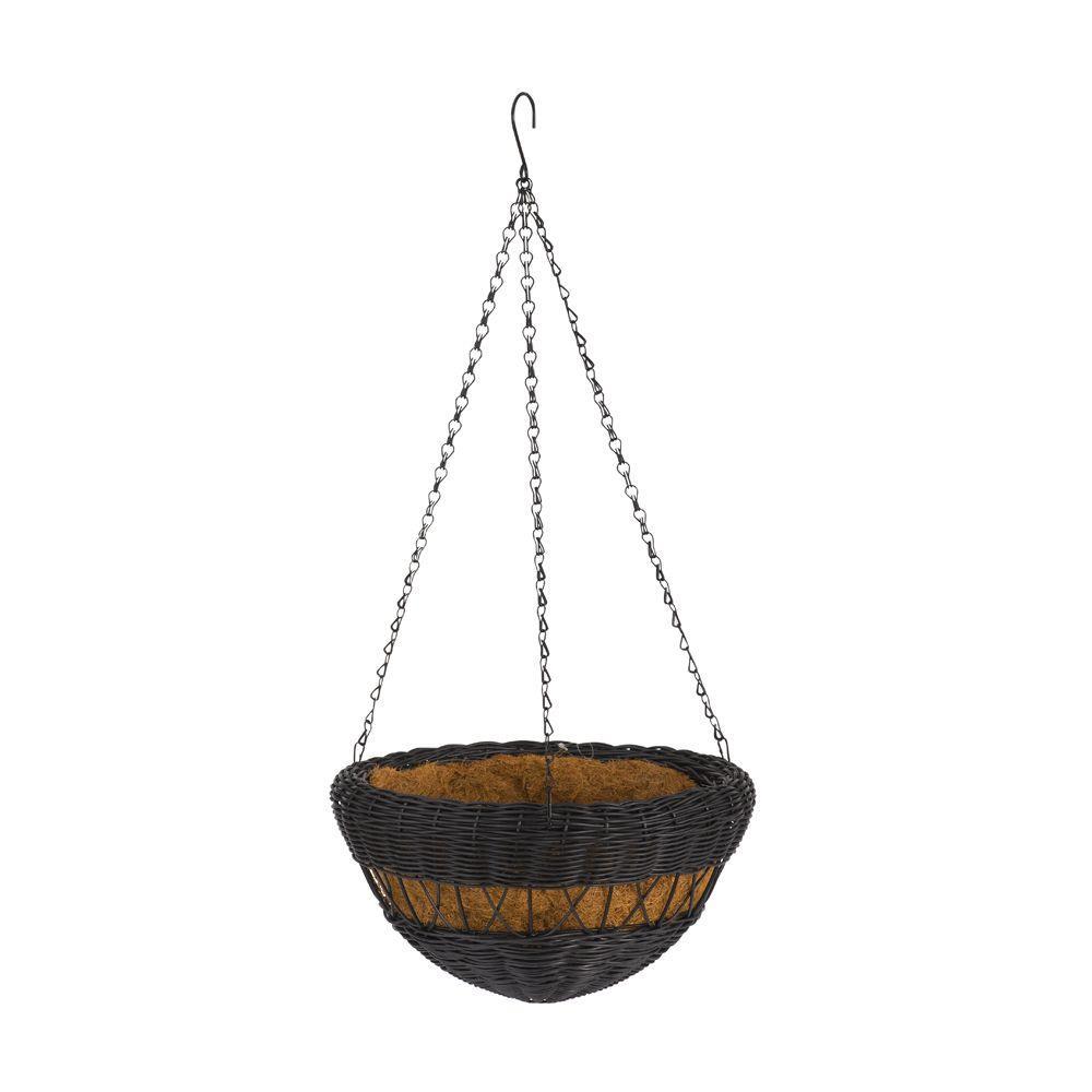 13 in. Black Resin Wicker Hanging Basket