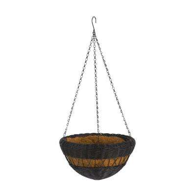 13 in. Black Resin Wicker Hanging Basket