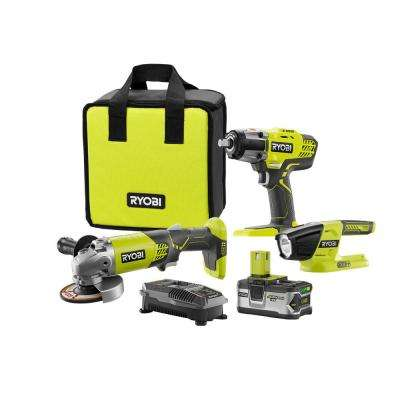 18-Volt ONE+ Lithium-Ion Cordless Combo Kit (3-Tool) with Battery 4Ah, Charger and Bag