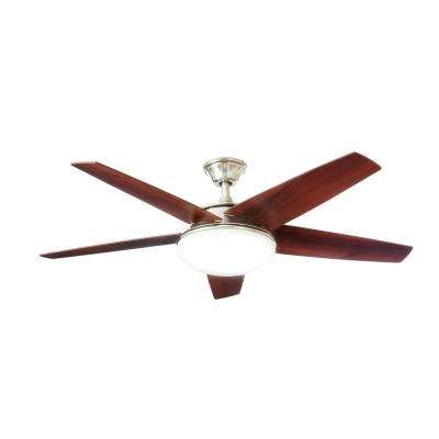 Piccadilly 52 in. LED Indoor Brushed Nickel Ceiling Fan with Light Kit and Remote Control