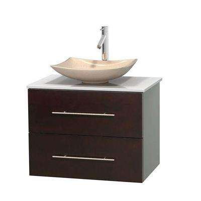Centra 30 in. Vanity in Espresso with Solid-Surface Vanity Top in White and Sink