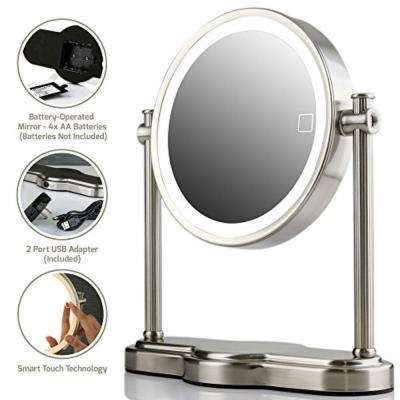 Nickel Brushed Battery or USB Adapter Operated Magnified LED Lighted Makeup Mirror with 1x 5x Magnification