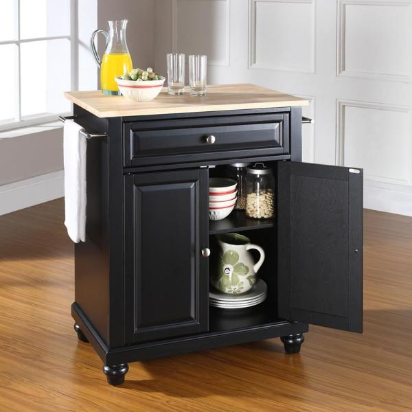 Cambridge Black Portable Kitchen Island with Wood Top
