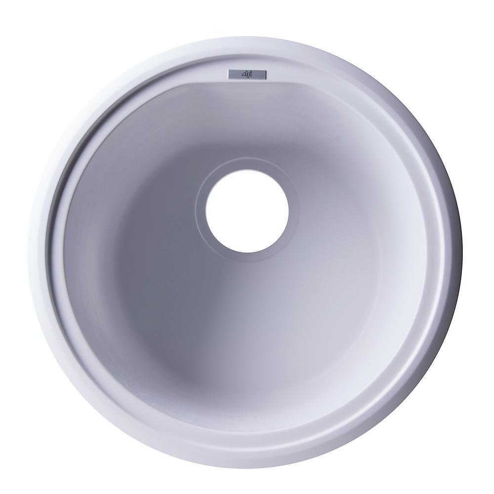 Undermount Granite Composite 17 in. Single Bowl Kitchen Sink in White