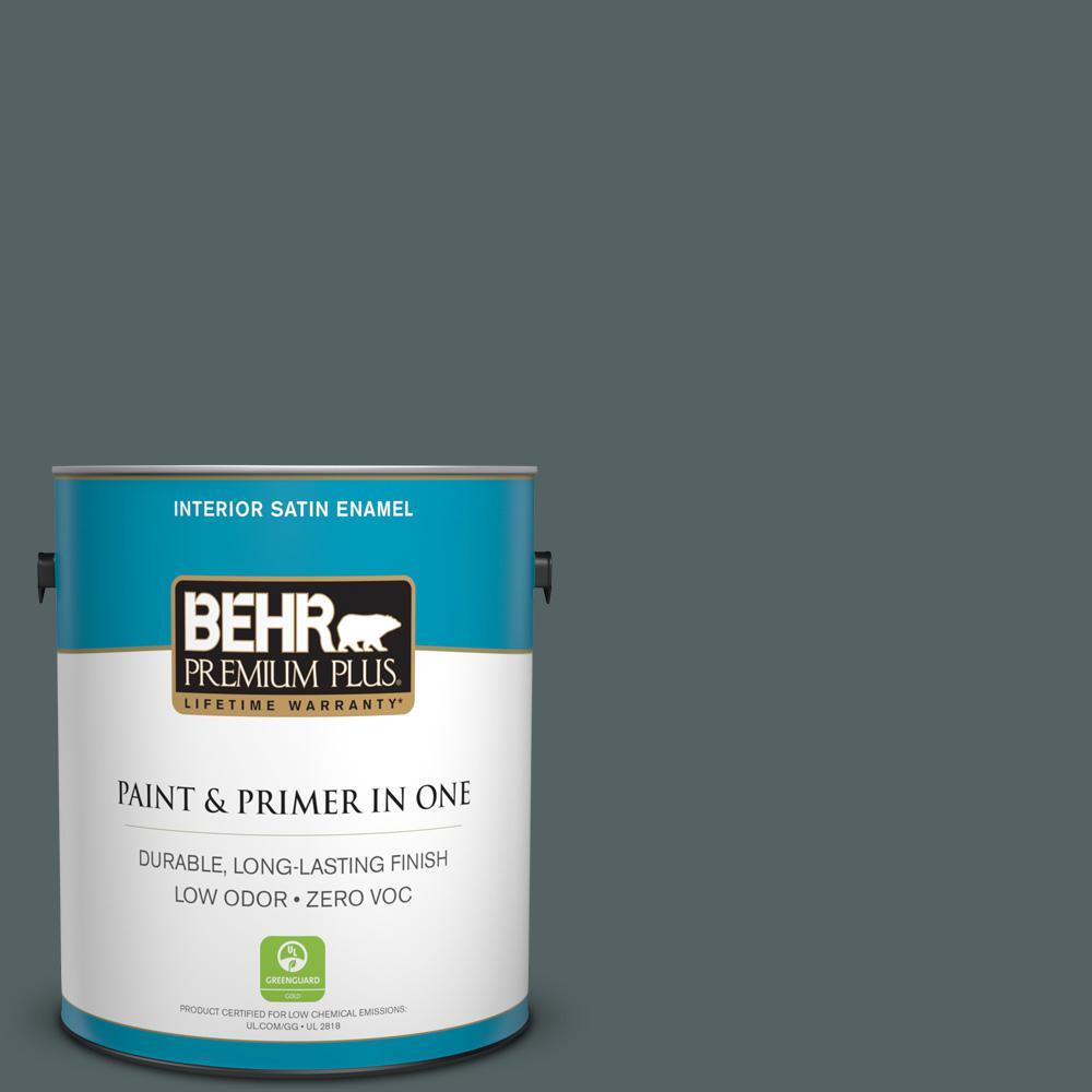 BEHR Premium Plus Home Decorators Collection 1-gal. #HDC-AC-25 Blue Metal Zero VOC Satin Enamel Interior Paint