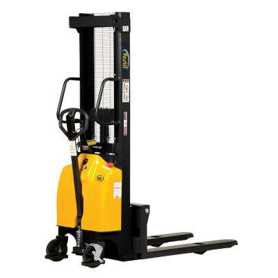 2,000 lb. Capacity 118 in. High Combination Hand Pump and Electric Stacker with Fixed Forks Over Fixed Support Legs