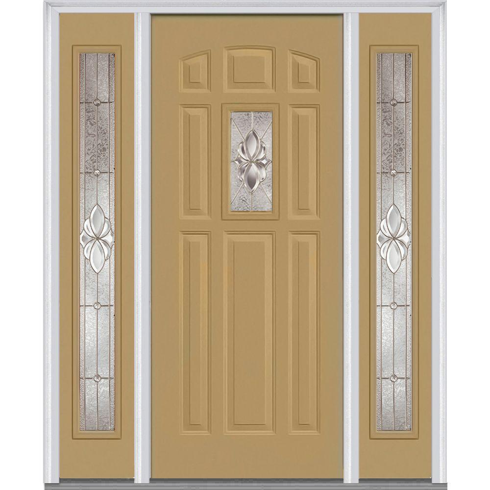 MMI Door 64 in. x 80 in. Heirloom Master Right-Hand Inswing 1-Lite Decorative Painted Steel Prehung Front Door with Sidelites