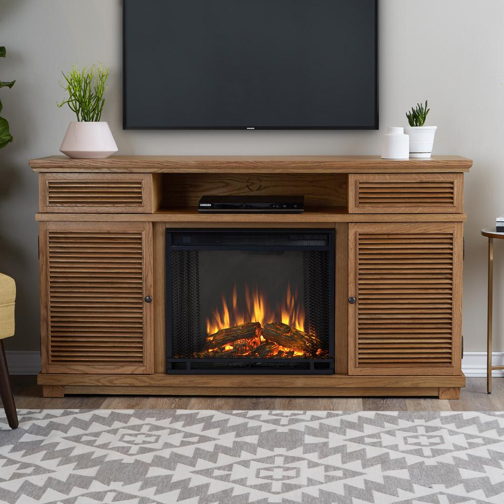 Cavallo 59 in. Freestanding Entertainment Electric Fireplace TV Stand in Natural