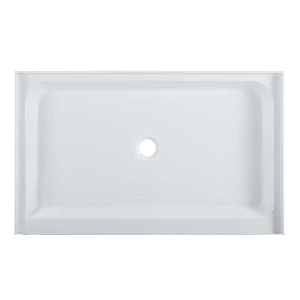 Swiss Madison Voltaire 60 in. x 30 in. Acrylic Single-Threshold Center Drain Shower Base in White