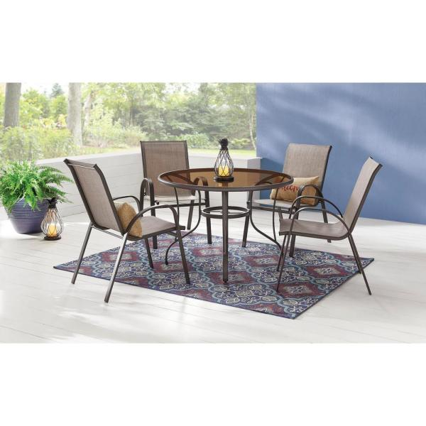 Stylewell 42 In Mix And Match Steel Round Outdoor Patio Dining Table With Painted Glass Fts61191 The Home Depot