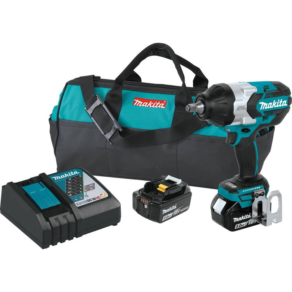 Makita 18-Volt LXT Lithium-Ion Brushless Cordless High Torque 1/2 in. Square Drive Impact Wrench w/ (2) Batteries 5.0Ah, Bag