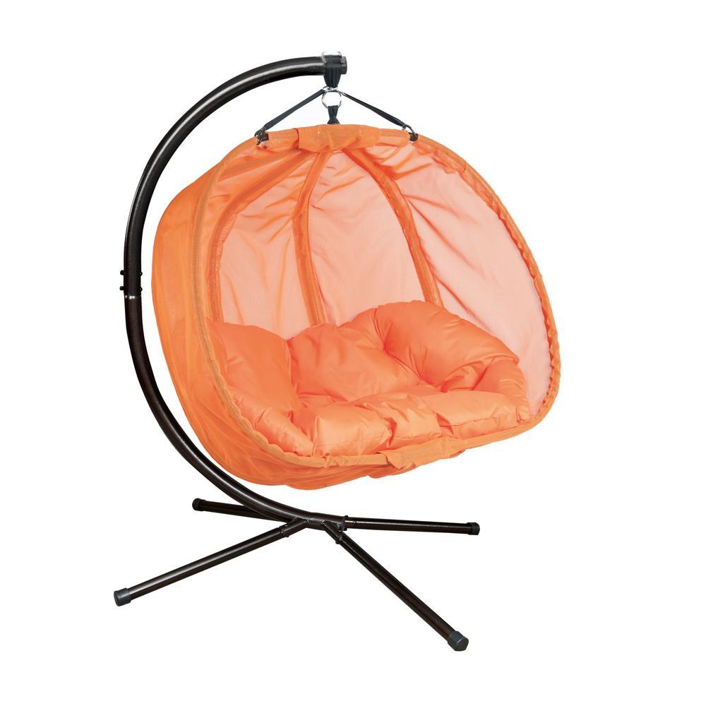Flowerhouse 5 5 Ft X 4 Ft W Hanging Pumpkin Patio Swing Hammock With Base In Orange Fhpc100 Or The Home Depot