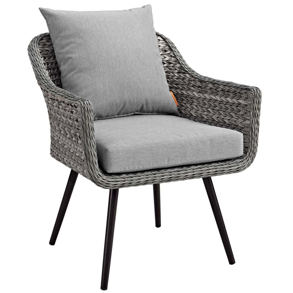 Stupendous Modway Endeavor Gray Wicker Outdoor Lounge Chair With Gray Cushions Pabps2019 Chair Design Images Pabps2019Com