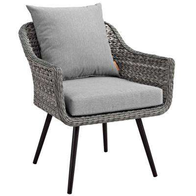 Endeavor Gray Wicker Outdoor Lounge Chair with Gray Cushions