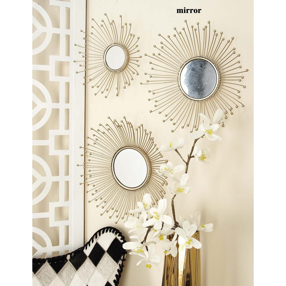 litton lane burst style framed round wall mirrors set of 3 74776 the home depot. Black Bedroom Furniture Sets. Home Design Ideas