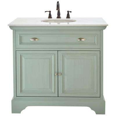 Sadie 38 in. Vanity in Antique Light Cyan with Natural Marble Vanity Top in White with White Sink