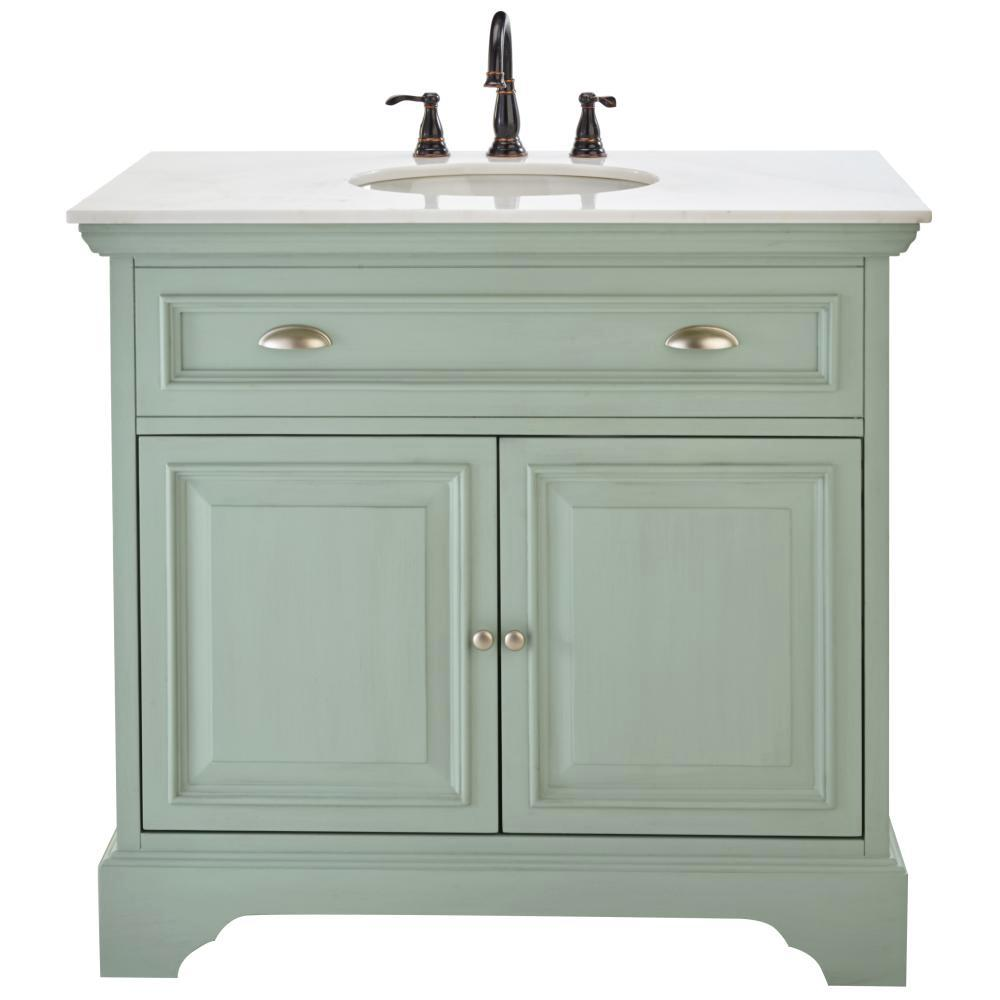 Home Decorators Collection Sadie 38 in. Vanity in Antique Light Cyan ...