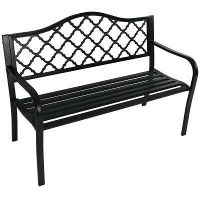 Lattice Black Cast Iron Outdoor Bench