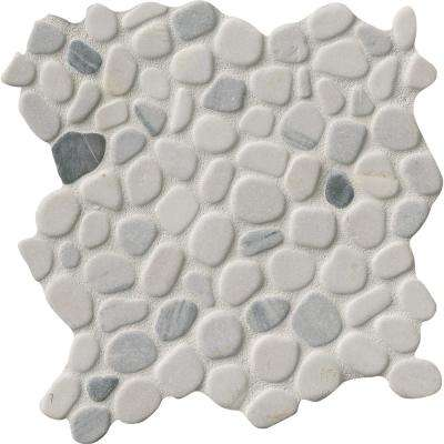 Black/White Pebbles 11.42 in. x 11.42 in. x 10 mm Marble Mesh-Mounted Mosaic Tile (9.1 sq. ft. / case)