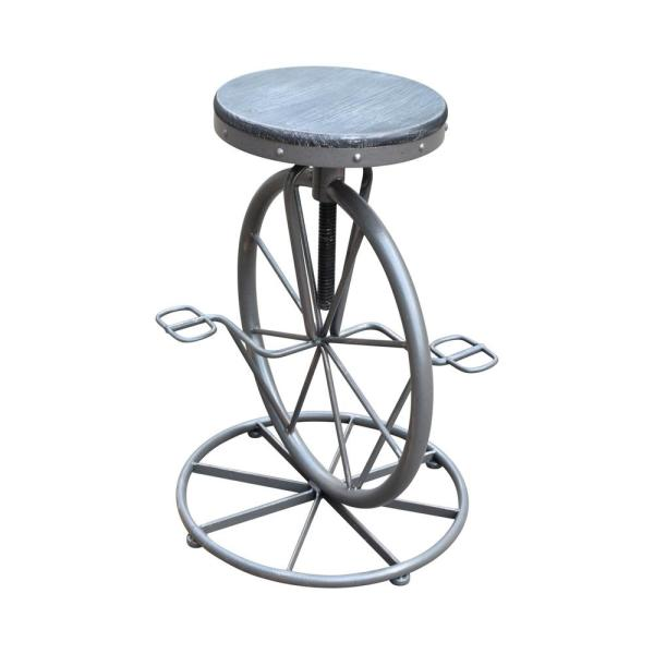 Gray and Brass Wheel-Designed Swiveling Iron Barstool with Distressed Brushed Gray Fir Wood Seat