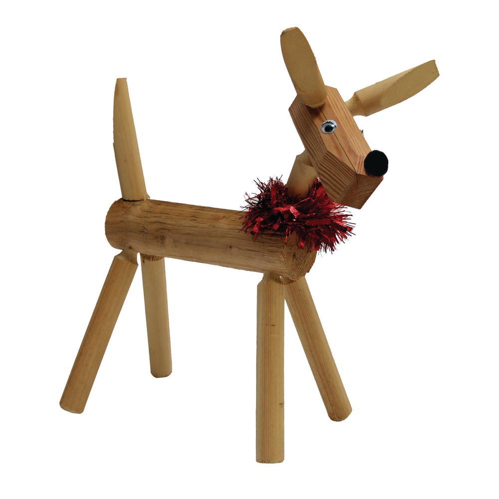19 in. Wood Rustic Standing Deer