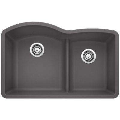 Diamond Undermount Granite Composite 32 in. 0-Hole with Low-Divide Double Bowl Kitchen Sink in Cinder