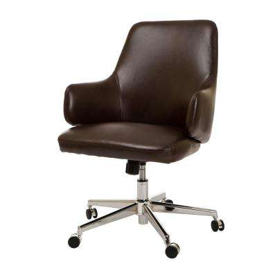 Mid-Century Modern Coffee Bonded Leather Gaslift Adjustable Swivel Office Chair