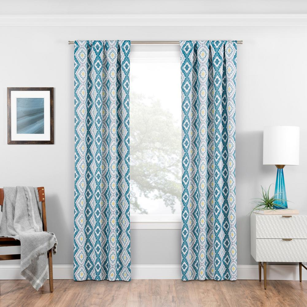 Eclipse Morrow Blackout Window Curtain Panel in Teal - 37 in. W x 84 in. L