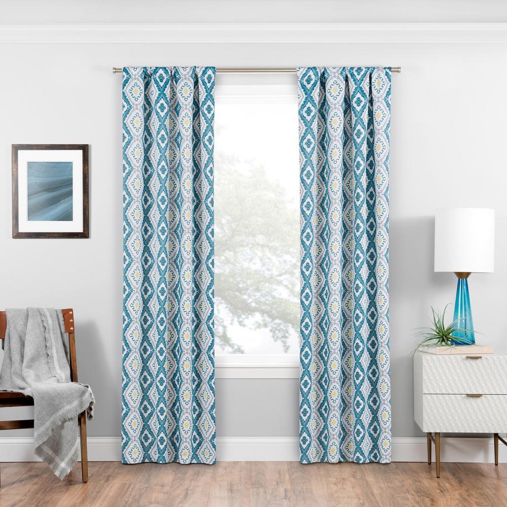 Morrow Blackout Window Curtain Panel in Teal - 37 in. W x 84 in. L