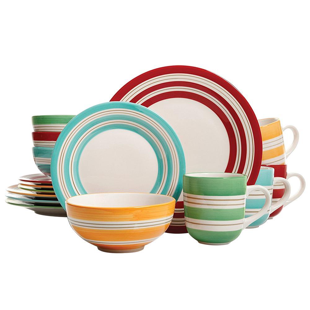 Sunset Stripes 16-Piece Assorted Colors Dinnerware Set