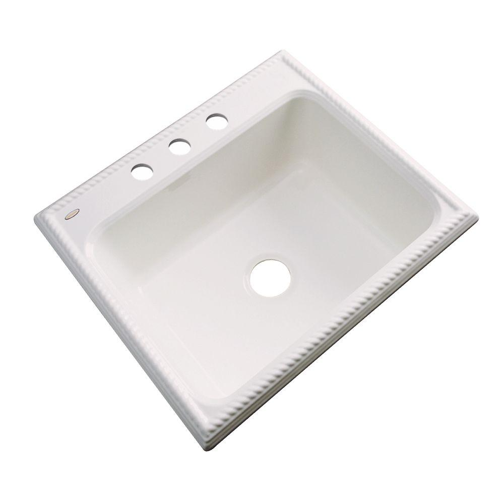 Thermocast Wentworth Drop-In Acrylic 25 in. 3-Hole Single Bowl Kitchen Sink in Bone