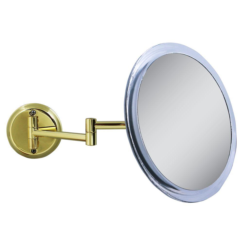 Zadro 10 in. x 11 in. 5X Wall Makeup Mirror in Brass
