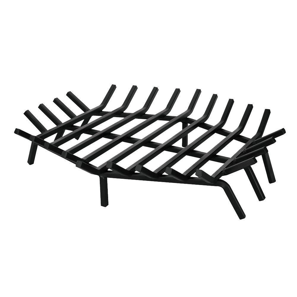 UniFlame 27 in. x 27 in. Black Hexagon Shape Bar Fireplace Grate