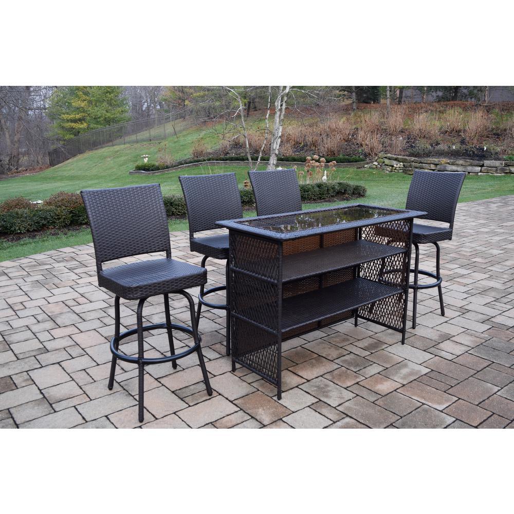 Fabulous Elite 5 Piece Wicker Outdoor Bar Height Dining Set Uwap Interior Chair Design Uwaporg