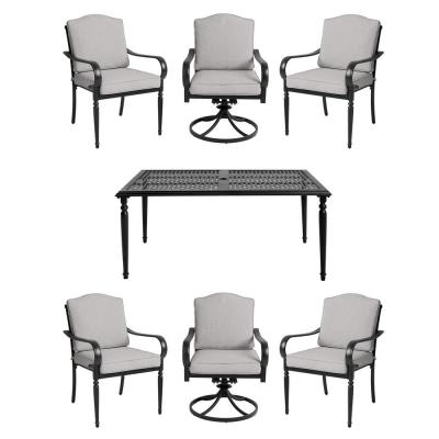 Laurel Oaks 7-Piece Brown Steel Outdoor Patio Dining Set with CushionGuard Stone Gray Cushions