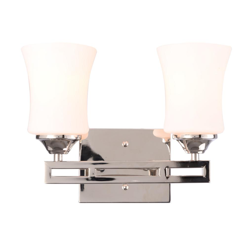 Replace Vanity Light Bar With Two Lights : Hampton Bay Larson 2-Light Polished Nickel Dual Bar Vanity Light-19855-000 - The Home Depot