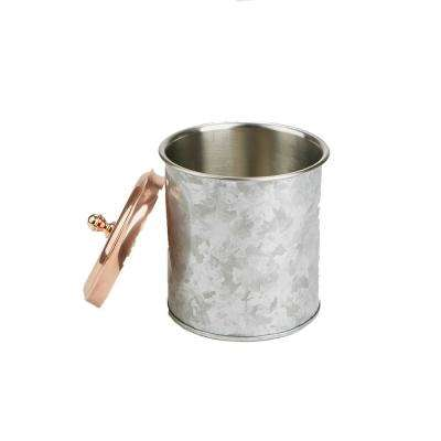 Silver Brass and Steel Ice Bucket Beverage Chiller with Lid