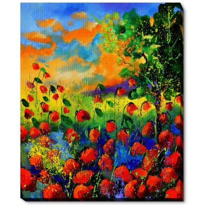 """18 in. x 22 in. """"Red poppies 451150 with Gallery Wrap"""" by Pol Ledent Framed Canvas Wall Art"""