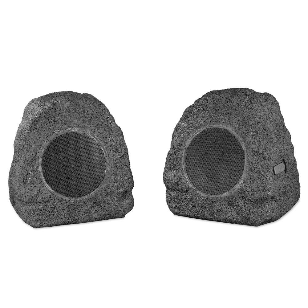 5,200mAh 5-Watt Outdoor Rock Speakers with Bluetooth, Grey 5,200mAh 5-Watt Outdoor Rock Speakers with Bluetooth in Grey. Waterproof speakers are perfect for outdoor events regardless of weather. 2 powerful cordless speakers easy to move anywhere.