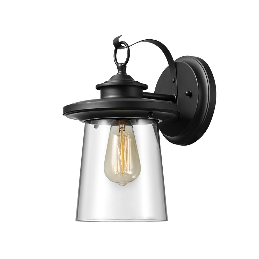 Globe Electric Valmont 1-Light Black Outdoor Wall Lantern Sconce