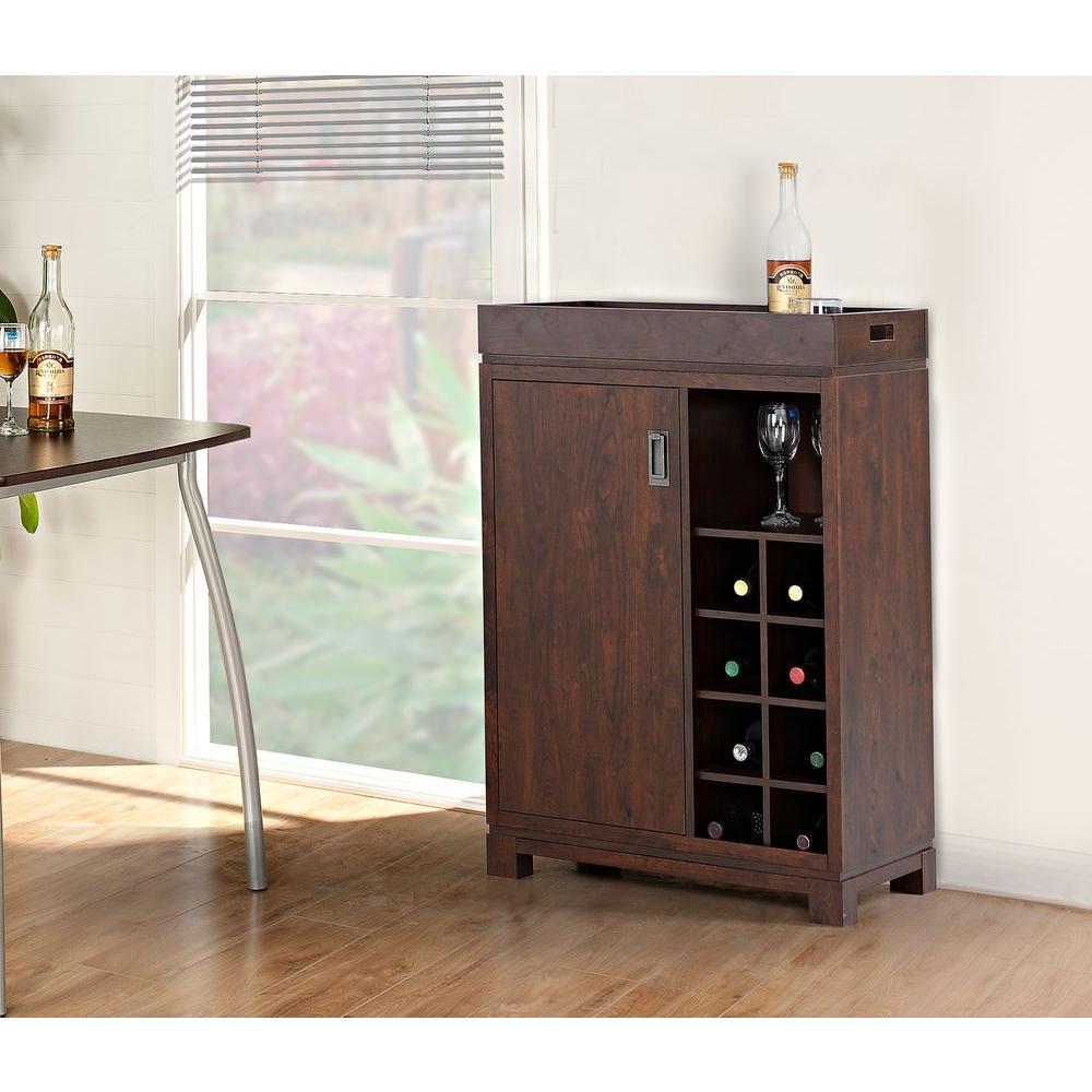 8-Bottle Brown Bar Cabinet