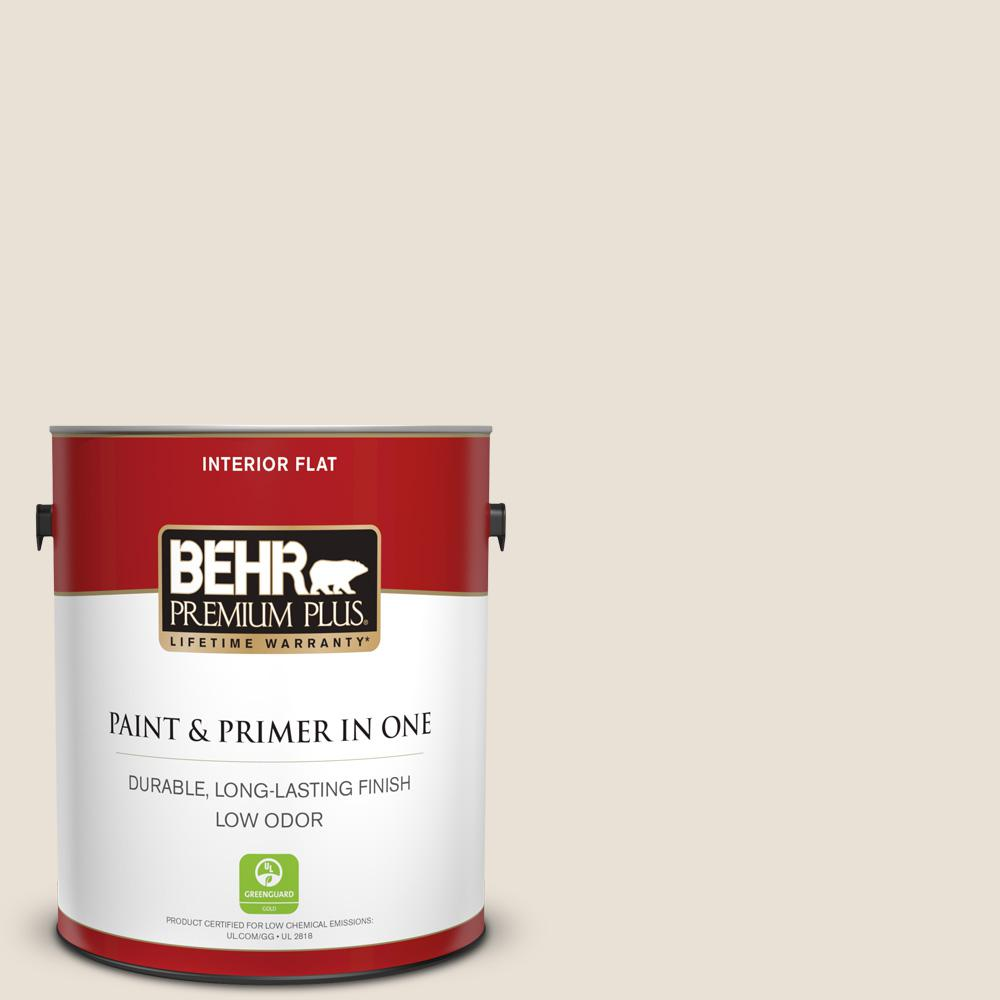 Behr Premium Plus 1 Gal 73 Off White Flat Low Odor Interior Paint And Primer In One