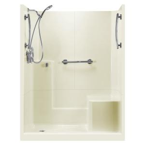 Ella 60 inch x 33 inch x 77 inch Freedom 3-Piece Low Threshold Shower Stall in... by Ella