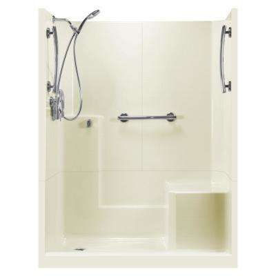 60 in. x 33 in. x 77 in. Freedom 3-Piece Low Threshold Shower Stall in Biscuit RHS Molded Seat Accessories Left Drain