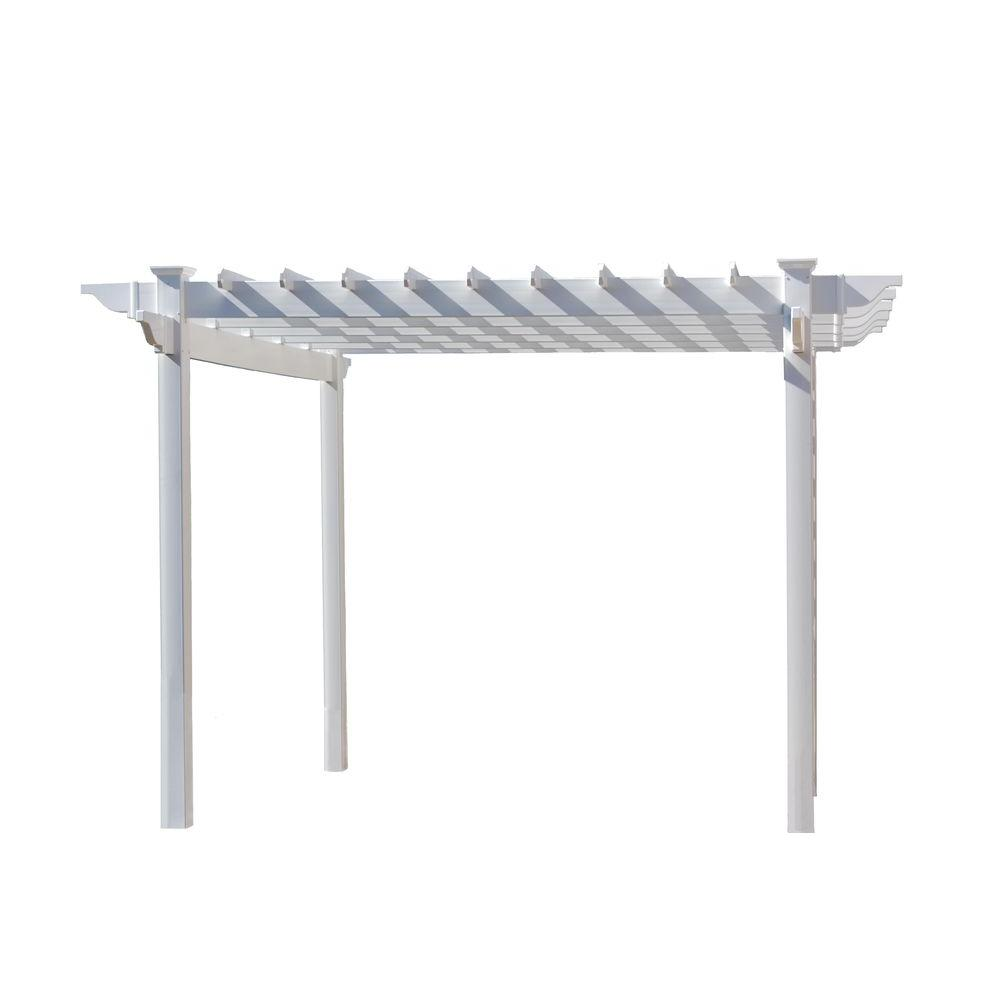 Dura Trel Queensbrook 7 Ft 5 In X White Vinyl Pergola 11301