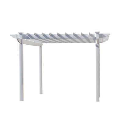 Queensbrook 7 ft. 5 in. x 7 ft. 5 in. White Vinyl Pergola