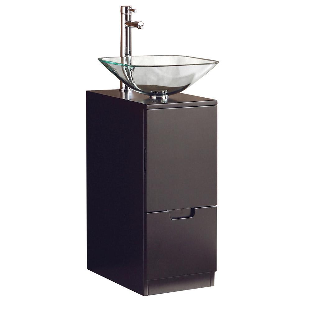 Brilliante 17 in. Bath Vanity in Espresso with Wooden Vanity Top