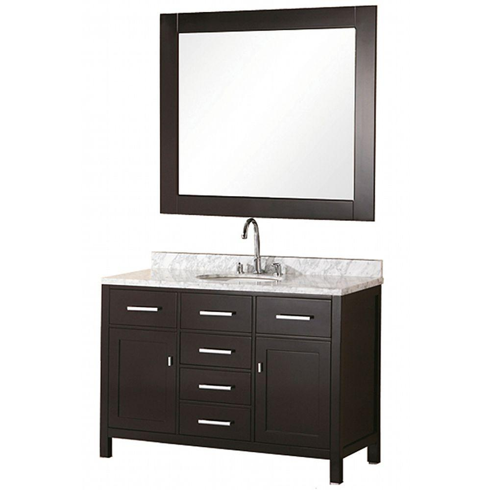 Design Element London 48 in. W x 22 in. D Vanity in Espresso with Marble Vanity Top and Mirror in Carrera White