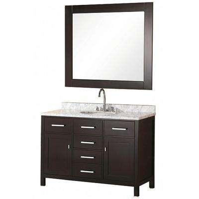 London 48 in. W x 22 in. D Vanity in Espresso with Marble Vanity Top and Mirror in Carrera White