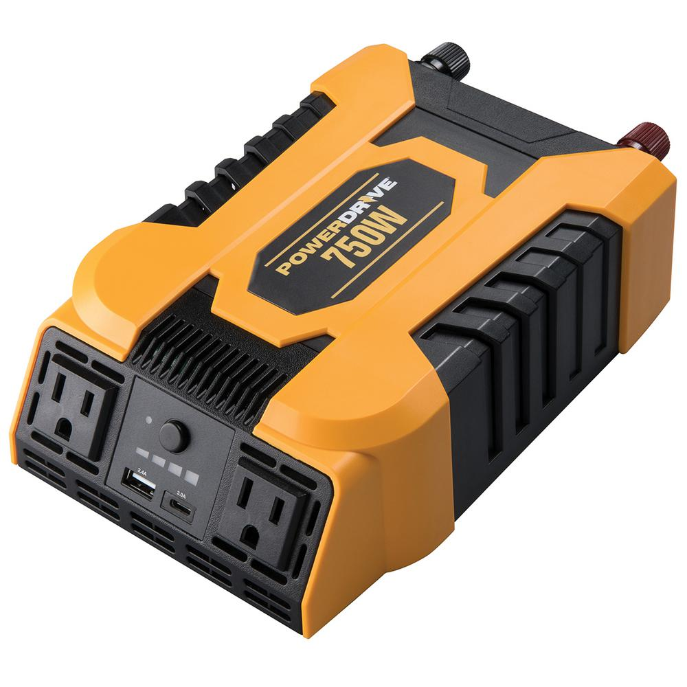 PowerDrive 750-Watt DC to AC Power Inverter with 2 AC and 2 USB Ports